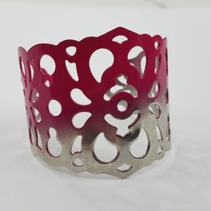 Floral Ombre Bracelet Cuff Silver Tone Pink Faded